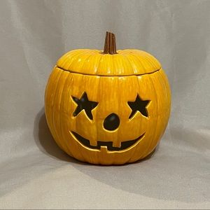 Small Jack-o-lantern Porcelain Candle Holder